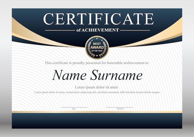 Designvorlage für zertifikate in blau und gold