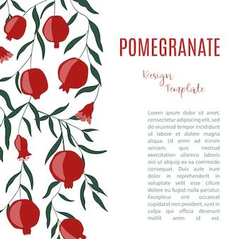 Designvorlage mit granatapfelfrüchten.