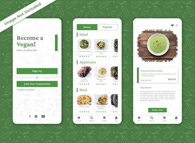 Designvorlagen für die mobile app für bio-restaurantlebensmittel mit pinselstrichen
