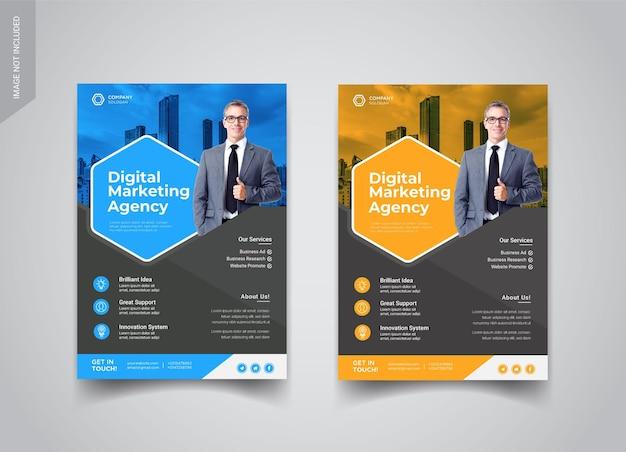 Designvorlagen für flyer der digitalen marketingagentur