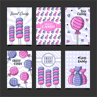 Designvorlagensammlung für süße süßigkeitenkarten