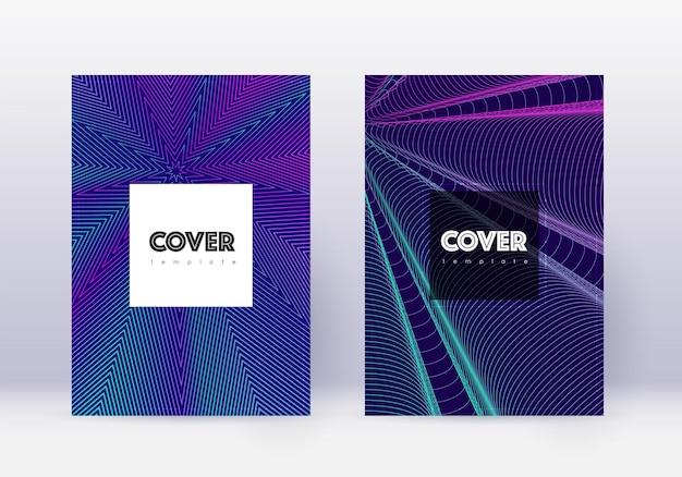 Designvorlagensatz für hipster-cover. abstrakte neonlinien auf dunkelblauem hintergrund. cooles cover-design. kostbarer katalog, poster, buchvorlage etc.
