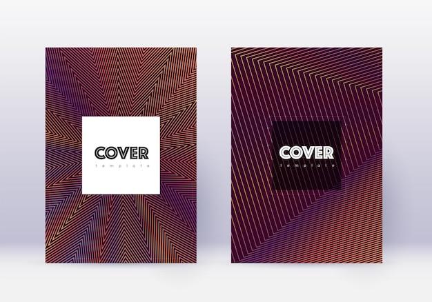 Designvorlagensatz für hipster-cover. orange abstrakte linien auf weinrotem hintergrund. kreatives cover-design. schillernder katalog, poster, buchvorlage etc.