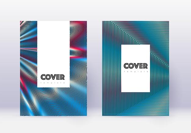 Designvorlagensatz für hipster-cover. rote abstrakte linien auf weißem blauem hintergrund. edles cover-design. mesmerischer katalog, poster, buchvorlage etc.