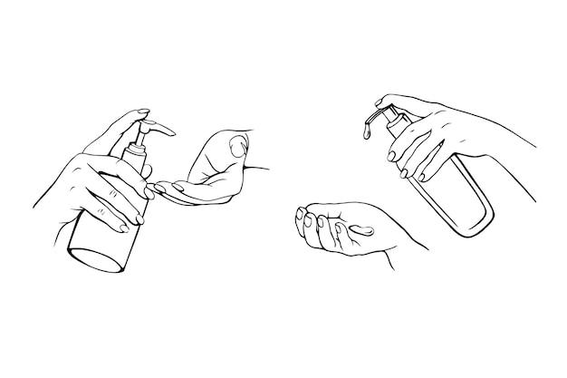 Desinfektion von händedesinfektionsmittel für handpresse