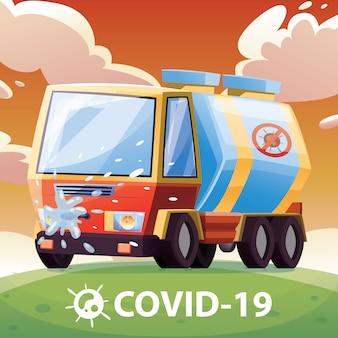 Desinfektionsauto zur bekämpfung des corona-virus