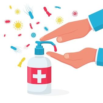 Desinfektionskonzept. flüssigseife mit abpumpen aus der flasche.