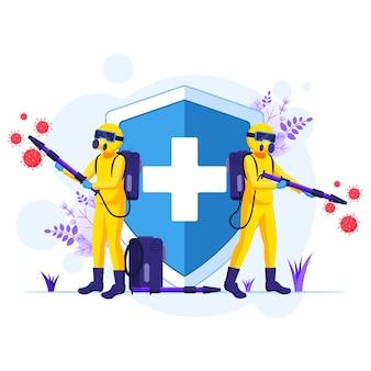 Desinfektionsmittel arbeiter in hazmat anzüge sprays reinigung und desinfektion coronavirus-zellen virus illustration