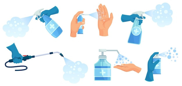 Desinfektionsspray in der hand. händedesinfektionsmittel, sprühbehälter für antiseptika und desinfektionsmittel. illustrationssatz für medizinisches virenschutzspray.