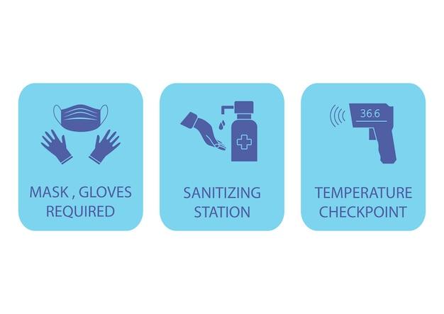 Desinfektionsstation. temperaturkontrollpunkt. maske, handschuhe und temperaturmessung sind erforderlich. coronavirus-regeln. es könnte im bahnhof, am flughafen oder an anderen öffentlichen orten verwendet werden. vektor