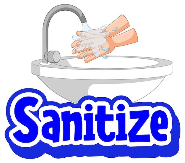 Desinfizieren sie die schrift im cartoon-stil mit händewaschen mit wasserhahn