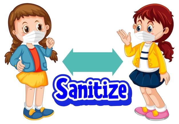 Desinfizieren sie die schrift im cartoon-stil mit zwei kindern, die soziale distanz auf weißem hintergrund halten