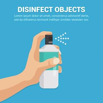 Desinfizieren sie objekte mit einem sprühkonzept in flachem design. illustration