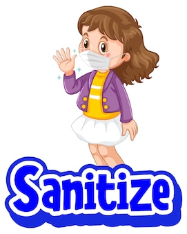 Desinfizieren sie poster im cartoon-stil mit einem mädchen, das eine medizinische maske auf weiß trägt
