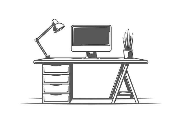 Desktop auf weißem hintergrund. symbole für möbellogos und embleme. illustration