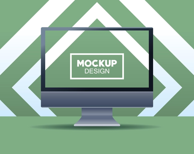 Desktop-computer-branding mit quadratischer rahmenillustration
