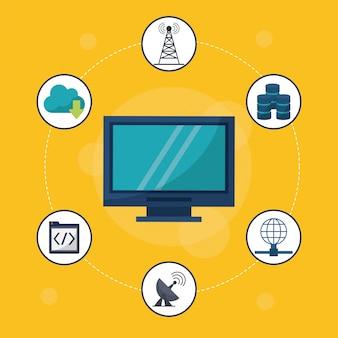 Desktop-computer in der nahaufnahme und networking-symbole herum