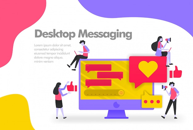 Desktop-messaging-apps mit ballon-chat-banner