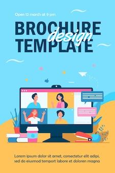 Desktop mit isolierter flyer-vorlage für virtuelle besprechungen oder videokonferenzen