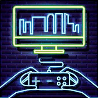 Desktop mit skyline und spieler, videospiel neon linearen stil