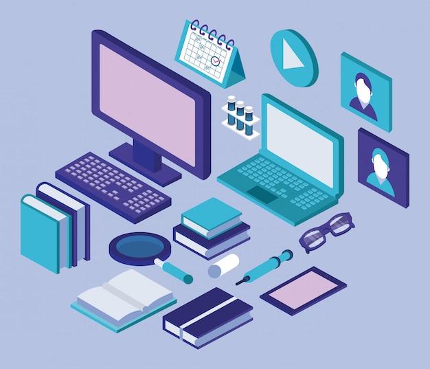 Desktop- und laptop-bildung online-tech