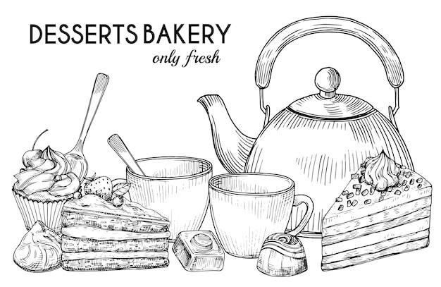Dessert bäckerei shop banner vorlage. hand gezeichnete kanne, teetassen, kuchen und süßigkeiten auf weißem hintergrund