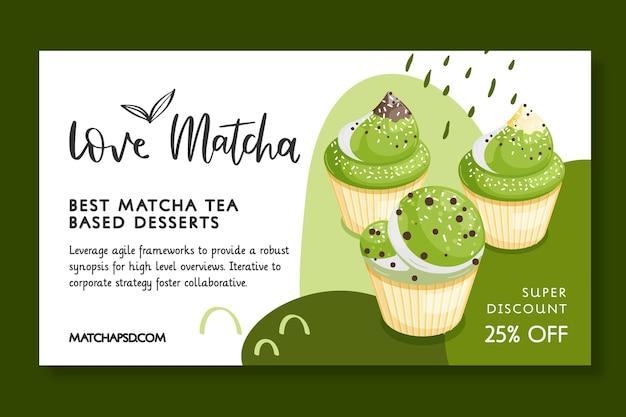 Dessert-banner-vorlage auf matcha-tee-basis