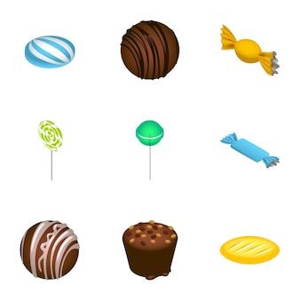 Dessert candy icon set. isometrischer satz von 9 nachtischsüßigkeitsikonen