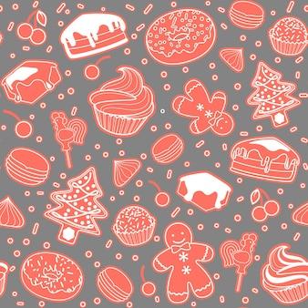 Dessert nahtlose vektormuster. kuchen, weihnachtsbaum, baiser, kirsche, cupcake, donut lebkuchenmann süßigkeiten makronen