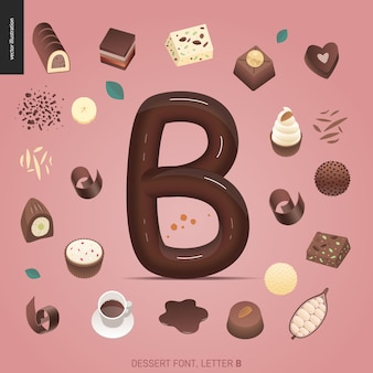 Dessert schriftart - buchstabe b - süße schrift. buchstaben aus karamell, toffee, keks, waffel, keks, sahne und schokolade