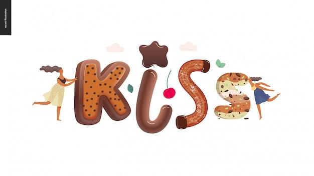 Dessert schriftzug kuss