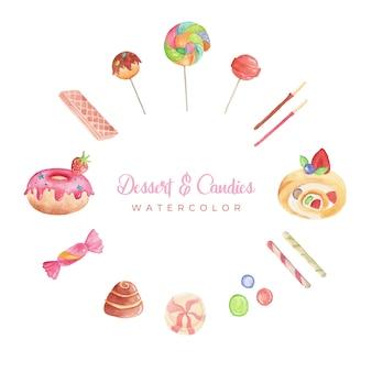 Dessert und süßigkeiten aquarell