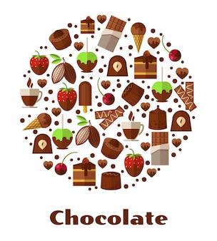 Desserts und delikatessen, schokoladennahrung in runder formillustration