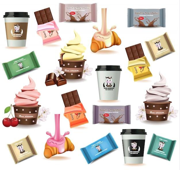 Desserts und köstliches muster des kaffees. croissant, schokolade, eis