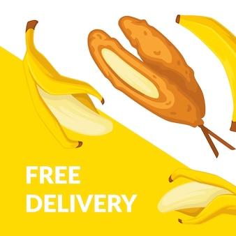 Desserts und süßigkeiten bestellen vom bistro. geröstete banane am stiel. exotisches gericht voller vitamine, gesunder snacks und ernährung. werbebanner oder poster, rabatte für cafés oder restaurants. vektor in flach