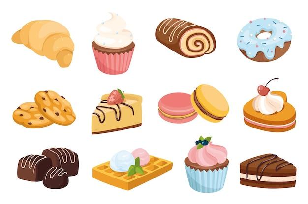 Desserts und süßigkeiten design-elemente gesetzt. sammlung von croissant, muffin, brötchen, donut, keksen, kuchen, kuchen, waffeln und mehr süßwaren. isolierte objekte der vektorillustration im flachen cartoon-stil
