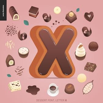 Dessertschriftbuchstabe x