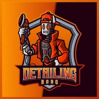 Detaillierende roboter-esport- und sportmaskottchen-logoentwurf mit moderner illustration. automechaniker illustration