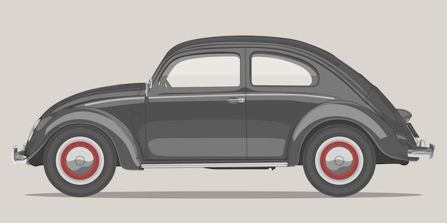 Detaillierte abbildung der seitenansicht des oldtimers