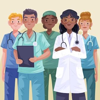 Detaillierte ärzte und krankenschwestern