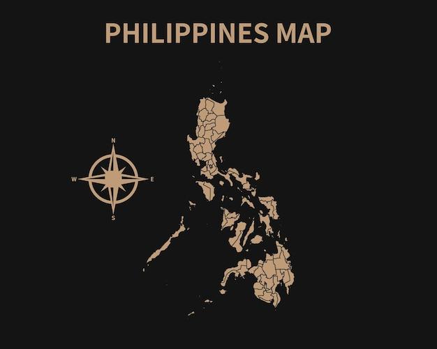 Detaillierte alte vintage karte der philippinen mit kompass und regionsgrenze auf dunklem hintergrund isoliert