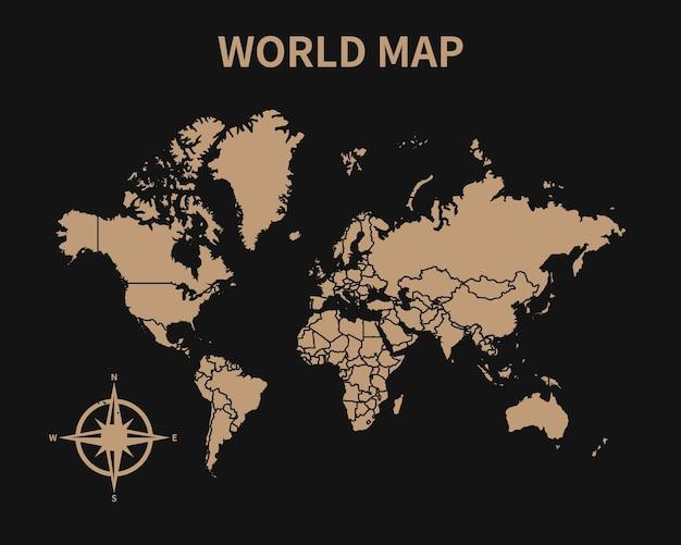 Detaillierte alte vintage karte der welt mit kompass und regionsgrenze isoliert auf dunklem hintergrund