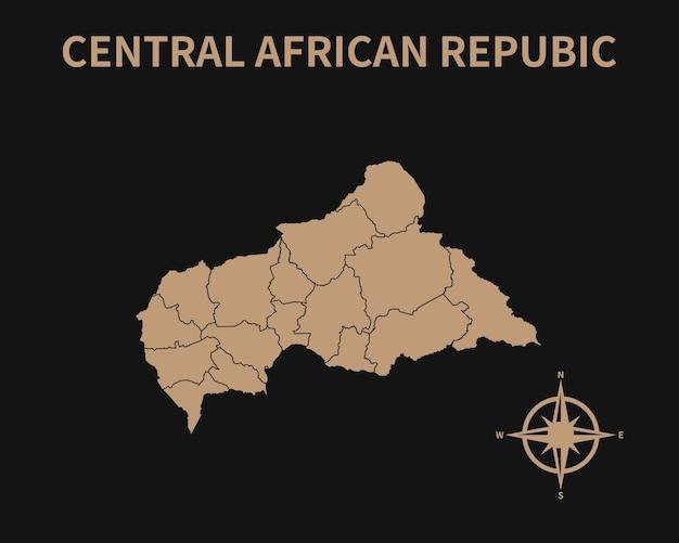 Detaillierte alte vintage karte der zentralafrikanischen republik mit kompass und regionsgrenze