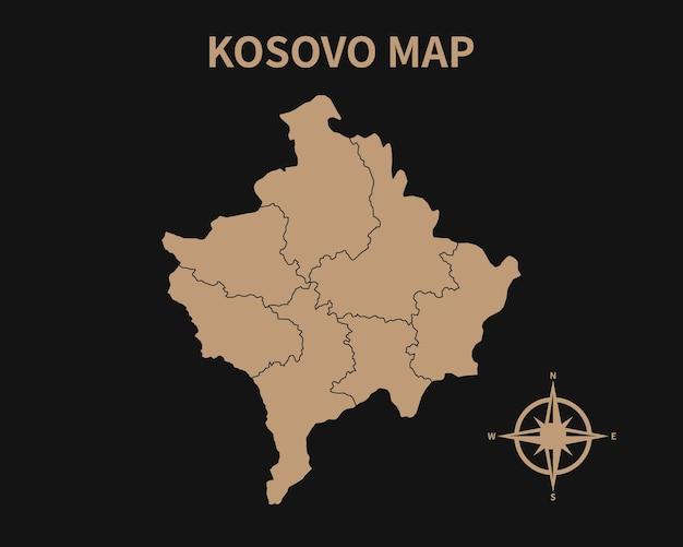 Detaillierte alte vintage karte des kosovo mit kompass und regionsgrenze auf dunklem hintergrund isoliert