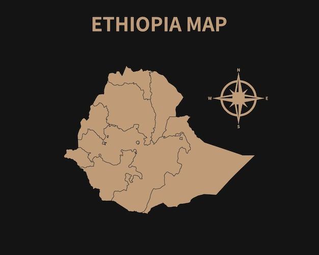 Detaillierte alte vintage karte von äthiopien mit kompass und regionsgrenze auf dunklem hintergrund isoliert