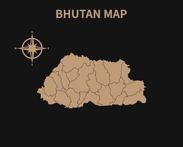 Detaillierte alte vintage karte von bhutan mit kompass und regionsgrenze isoliert auf dunklem hintergrund