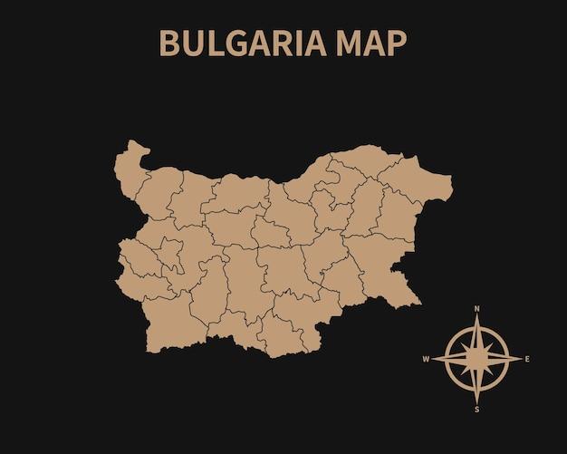 Detaillierte alte vintage karte von bulgarien mit kompass und regionsgrenze auf dunklem hintergrund isoliert
