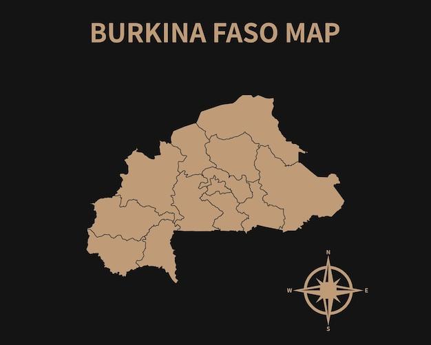 Detaillierte alte vintage karte von burkina faso mit kompass und regionsgrenze isoliert auf dunklem hintergrund