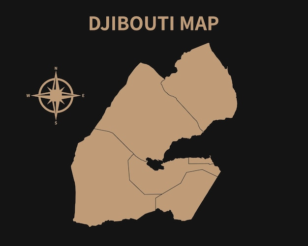 Detaillierte alte vintage karte von dschibuti mit kompass und regionsgrenze isoliert auf dunklem hintergrund