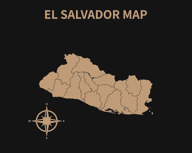 Detaillierte alte vintage karte von el salvador mit kompass und regionsgrenze auf dunklem hintergrund isoliert